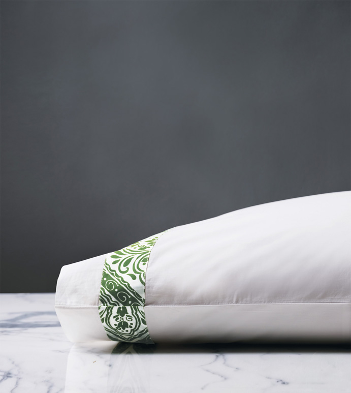 Adelle Percale Pillowcase In Grass - 100% COTTON,EGYPTIAN COTTON,ITALIAN,FINE LINENS,LINENS,SHEETS,SHEETING,PILLOWCASE,DAMASK,DAMASK PATTERN,GREEN,TRADITIONAL,OGEE,BED LINENS,EASTERN ACCENTS,PERCALE,MADE IN AMERICA,