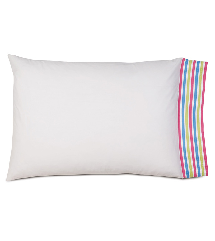 Posey Ribbon Pillowcase - PILLOWCASE,PILLOW,BEDDING,100% COTTON,COTTON,EGYPTIAN,STANDARD,KING,QUEEN,LUXURY,WASHABLE,MACHINE,RIBBON,STRIPED,THREAD COUNT,