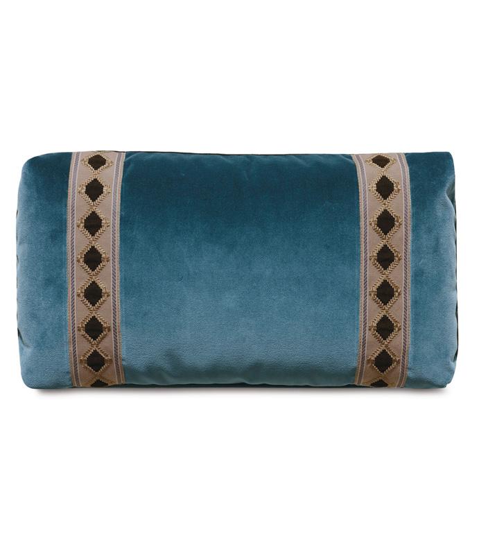 Rudy Velvet Accent Pillow In Blue - ACCENT PILLOW,THROW PILLOW,ACCENT PILLOW,EASTERN ACCENTS,BLUE,LODGE,100% COTTON VELVET,SOLID,BORDER,