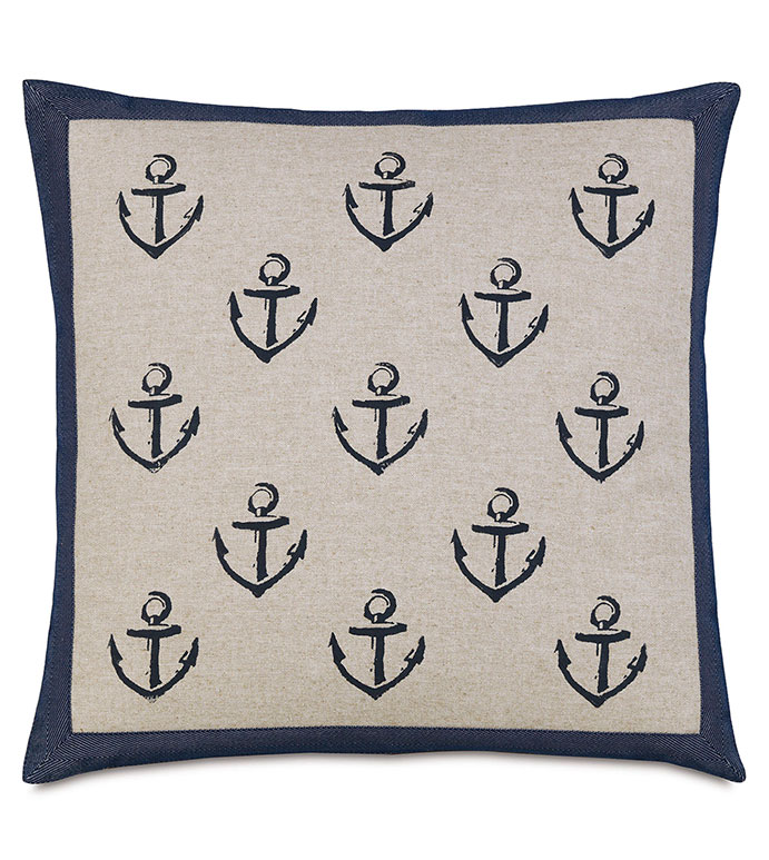 Block Printed Anchors - PILLOW,THROW PILLOW,ANCHOR PILLOW,COASTAL PILLOW,MARINE PILLOW,BLOCK PAINTED PILLOW,DECORATIVE PILLOW,ACCENT PILLOW,CUSTOM PILLOW,NAUTICAL PILLOW,PREPPY PILLOW,NAVY PILLOW