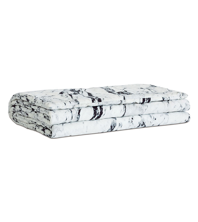 Banks Marble Bed Scarf - HAND-TACKED,BED SCARF,BED RUNNER,MARBLE,MARBLE PRINT,MARBLE PATTERN,BLACK AND WHITE,MONOCHROME,BLACK AND WHITE BEDDING,LUXURY BEDDING,LUXURY,EASTERN ACCENTS,MARBLE BEDDING,LUXURY,