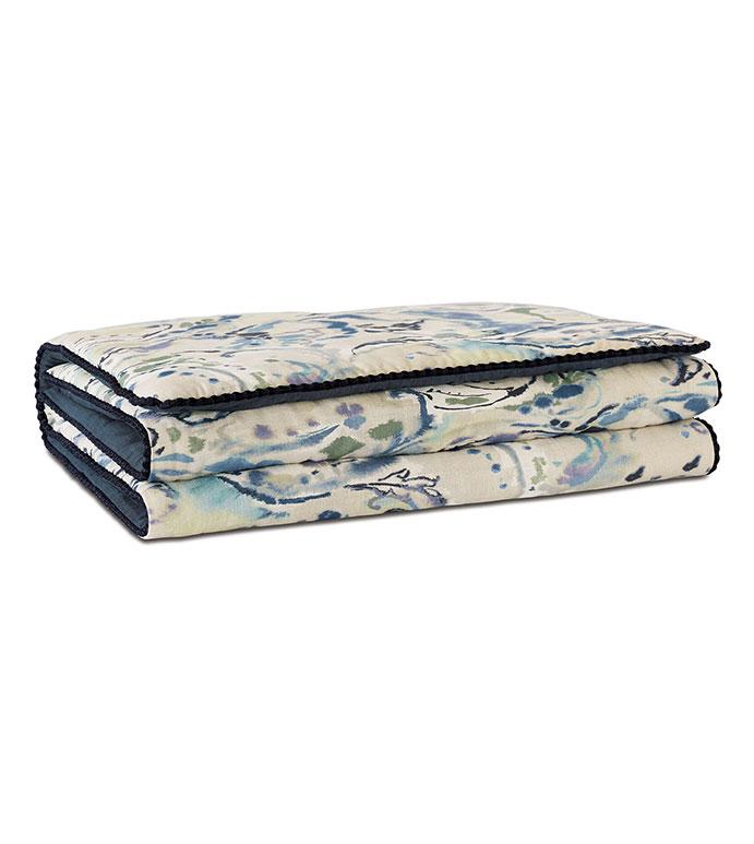 Tabitha Watercolor Paisley Bed Scarf - ,paisley,bedscarf,paisley bedscarf,blue ,beige bedscarf, paisley bedding, abstract print, abstract bedscarf,purple,luxury bedscarf,luxury bedding