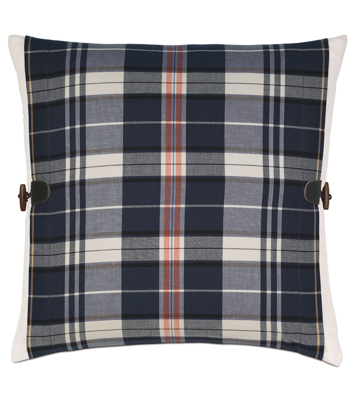 Scout Navy With Toggles - PILLOW,DECORATIVE PILLOW,PLAID PILLOW,NAVY PILLOW COVER,MASCULINE PILLOW,CHECK PILLOW,MALE PILLOW,JUVENILE PILLOW,ACCENT PILLOW,ACCENT CUSHION,TOSS CUSHION,DECORATIVE ACCENT PILLOW