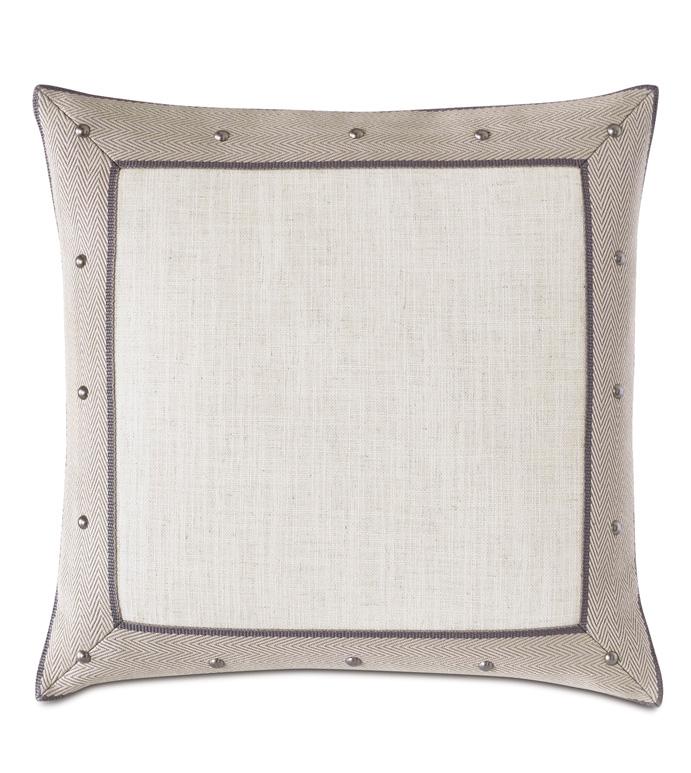 Safford Border Decorative Pillow - 20X20,SQUARE,NEUTRAL,BEIGE,WHITE,BORDER,MITERED,TRADITIONAL,PILLOW,DECORATIVE PILLOW,ACCENT PILLOW,THROW PILLOW,NAILHEADS,SQUARE,LUXURY,LUXURY BEDDING