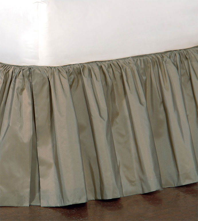 Freda Ruffled Bed Skirt in Cornflower - RUFFLED,BED SKIRT,BEDDING,HOME DECOR,NEUTRAL,GRAY,ACCESSORIES,MADE IN USA,TRADITIONAL,TAFFETA,SILKY,SHINY,QUEEN,KING,TWIN,DAYBED,FULL,CAL KING