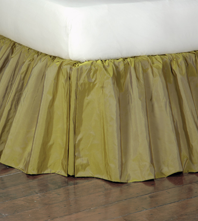 Freda Ruffled Bed Skirt in Chartreuse - RUFFLED,BED SKIRT,BEDDING,HOME DECOR,CHARTREUSE,CITRON,GREEN,OLIVE,ACCESSORIES,MADE IN USA,TRADITIONAL,TAFFETA,SILKY,SHINY,QUEEN,KING,TWIN,DAYBED,FULL,CAL KING