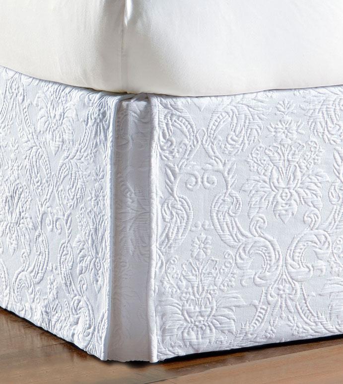 Sandrine White Bed Skirt - bed skirt,matelasse bed skirt,queen bed skirt,white bedskirt,queen dust ruffle,custom bedskirt,classic bed skirt,customizeable bed skirt,luxury bedding,high end bedding,boxed skirt