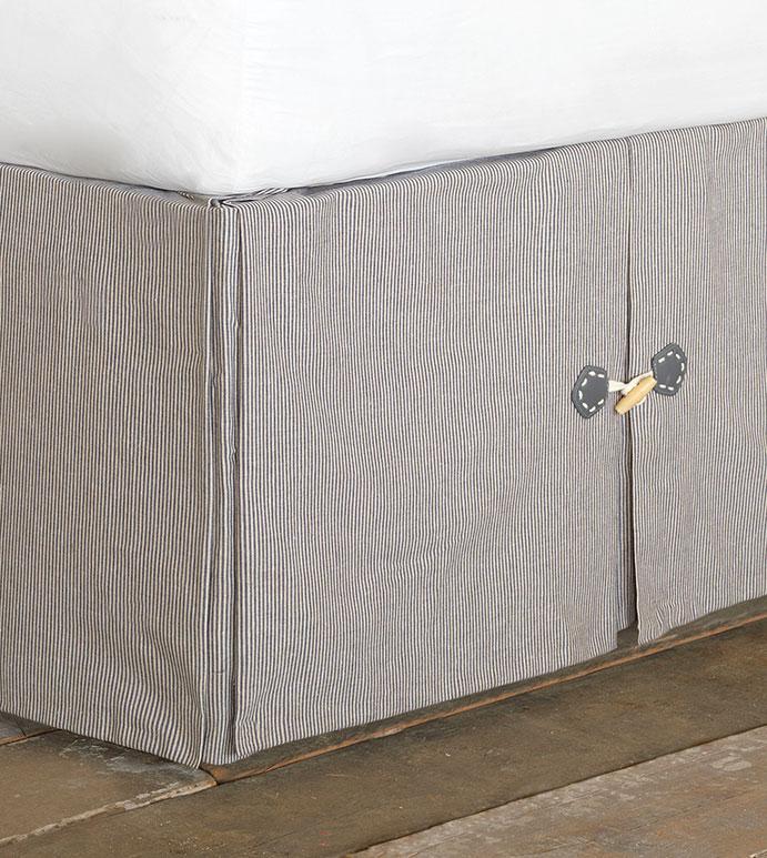 Tulane Indigo Bed Skirt - bed skirt,queen bed skirt,stripe bedskirt,queen dust ruffle,custom bedskirt,boxed bed skirt,marine bed skirt,luxury bedding,coastal bedding,high end bedding,preppy bed skirt