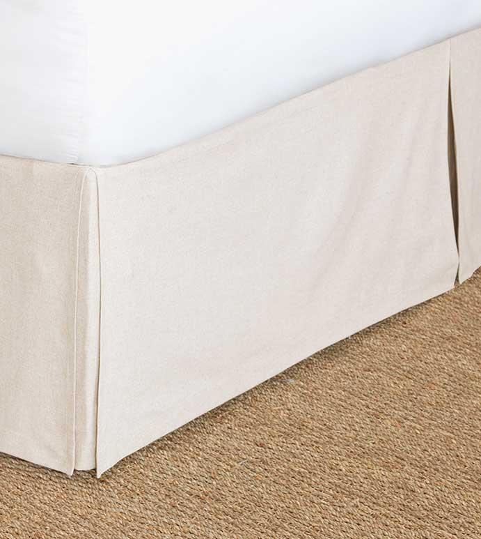 Greer Linen Bed Skirt - tan bed skirt,tan dust ruffle,solid beige bedskirt,solid beige dust ruffle,corner pleated bed skirt,kick pleat bed skirt,tan box pleat bed skirt,solid,neutral,beige,classic,plain