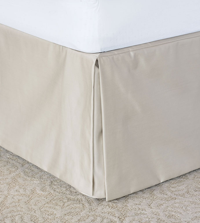 Marceau Pleated Bed Skirt - ,KICK PLEATS,BEDSKIRT,LUXURY BEDSKIRT,PLEATED BED SKIRT,CREAM BEDSKIRT,SATIN BEDSKIRT,SATIN-EFFECT FABRIC,BED SKIRT,SILKY BED SKIRT,GLAM BED SKIRT,LUXURY BED SKIRT,LUXURY,USA MADE,
