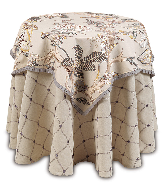 Edith Table Square - floral table sqaure,floral print table cloth,small floral table cloth,pleated trim,ruffled trim,botanical table cloth,large floral print,gray and tan,neutral,muted,english garden