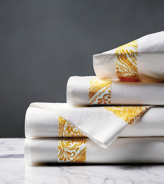 Adelle Percale Sheet Set In Saffron - 100% COTTON,EGYPTIAN COTTON,ITALIAN,FINE LINENS,LINENS,SHEETS,SHEETING,FLAT SHEET,DAMASK,DAMASK PATTERN,YELLOW,TRADITIONAL,OGEE,BED LINENS,EASTERN ACCENTS,PERCALE,MADE IN AMERICA,