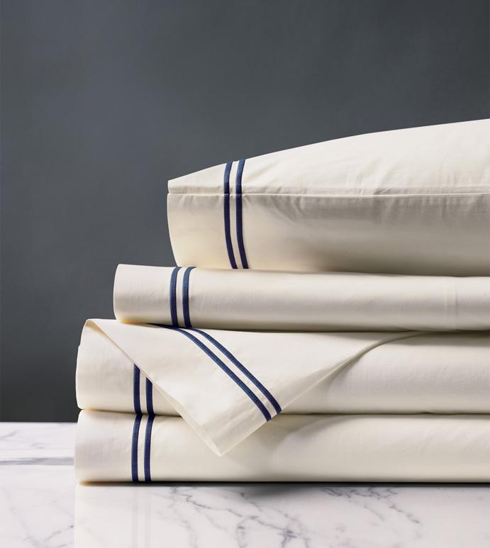Enzo Ivory/Navy Sheet Set