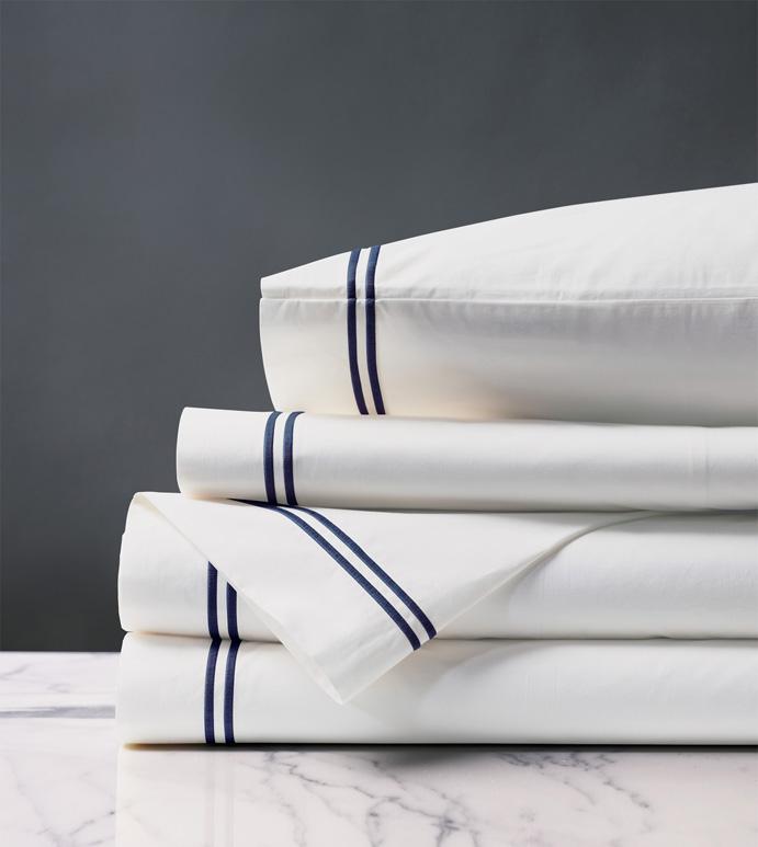 Enzo White/Navy Sheet Set