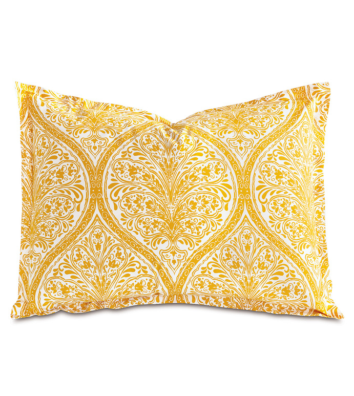 Adelle Percale Standard Sham In Saffron - 100% COTTON,EGYPTIAN COTTON,ITALIAN,FINE LINENS,LINENS,SHEETS,SHEETING,FLAT SHEET,DAMASK,DAMASK PATTERN,YELLOW,TRADITIONAL,OGEE,BED LINENS,EASTERN ACCENTS,PERCALE,MADE IN AMERICA,
