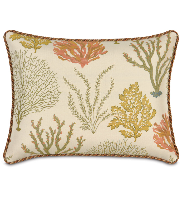 Caicos Standard Sham - SEA THEMED PILLOW,BEACH STYLE PILLOW,TROPICAL PILLOW,EARTH TONED,UNDER THE SEA PILLOW,BEACH HOUSE PILLOW,CORAL,CASUAL TROPICAL,GREEN AND TAN,TROPICAL STANDARD SHAM,NATURAL COLOR