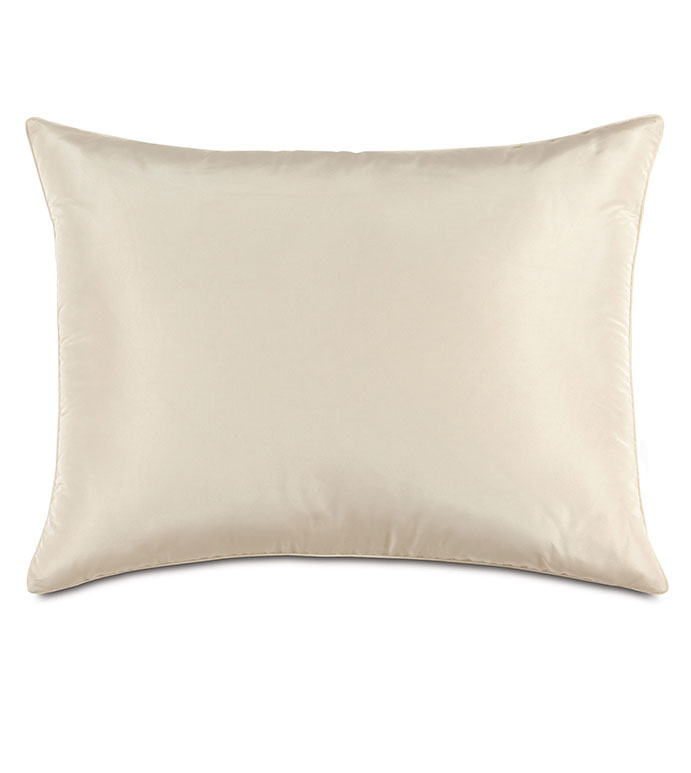 Freda Taffeta Standard Sham in Ivory - IVORY,PILLOW,DECORATIVE PILLOW,ACCENT PILLOW,THROW PILLOW,BED PILLOW, BEDDING,STANDARD SHAM,CREAM,CONTEMPORARY,WHITE,SQUARE,20X27,TAFFETA,SILKY,SHINY,HOME DECOR,LUXURY,MADE IN USA,