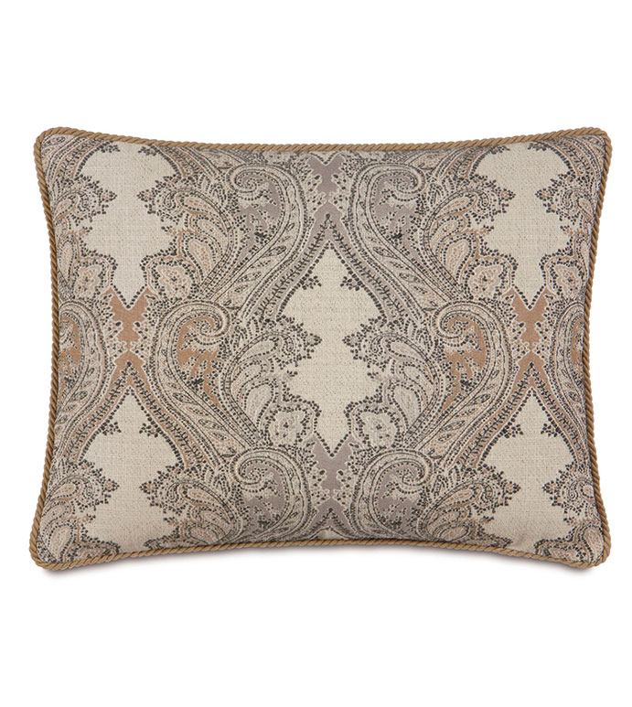 Aiden Damask Standard Sham - RUSTIC,LODGE,COUNTRY,MOUNTAINS,SOUTHWEST,LODGE STYLE PILLOW,RUSTIC PILLOW,STANDARD SHAM,LEATHER ACCENT,PAISLEY,TAN,BLACK,GREY,TAN LODGE PILLOW,SADDLE COLOR PILLOW,PAISLEY PILLOW