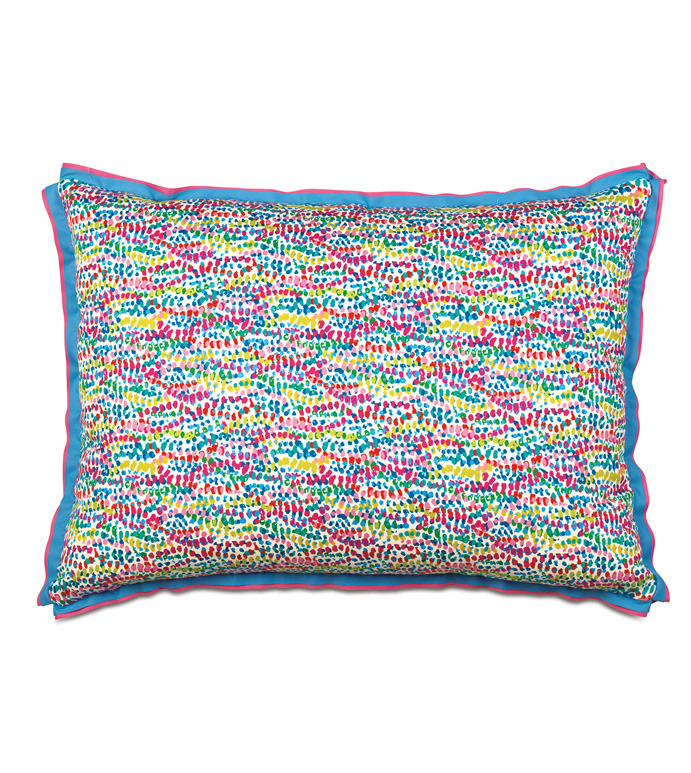 Gigi Speckled Standard Sham - STANDARD SHAM,DECORATIVE PILLOW,PASTEL,POLKA DOT,CONFETTI,RIBBON TRIM,BUTTERFLY PLEATED,PILLOW,BED PILLOW,ACCENT PILLOW,MADE IN USA,100% COTTON,COTTON,LUXURY,BEDDING,20X27,STANDARD
