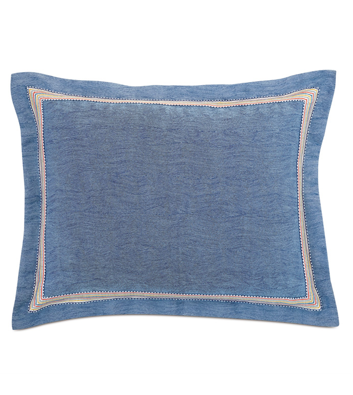 Paloma Woven Standard Sham In Blue - ACCENT PILLOW,THROW PILLOW,STANDARD SHAM,EASTERN ACCENTS,BLUE,TEXTURED,SOLID,BORDER,WOVEN,WAVY,TROPICAL,COASTAL,COLORFUL,PRIMARY,BORDER,TRIM,LUXURY,BEDDING,PILLOW,