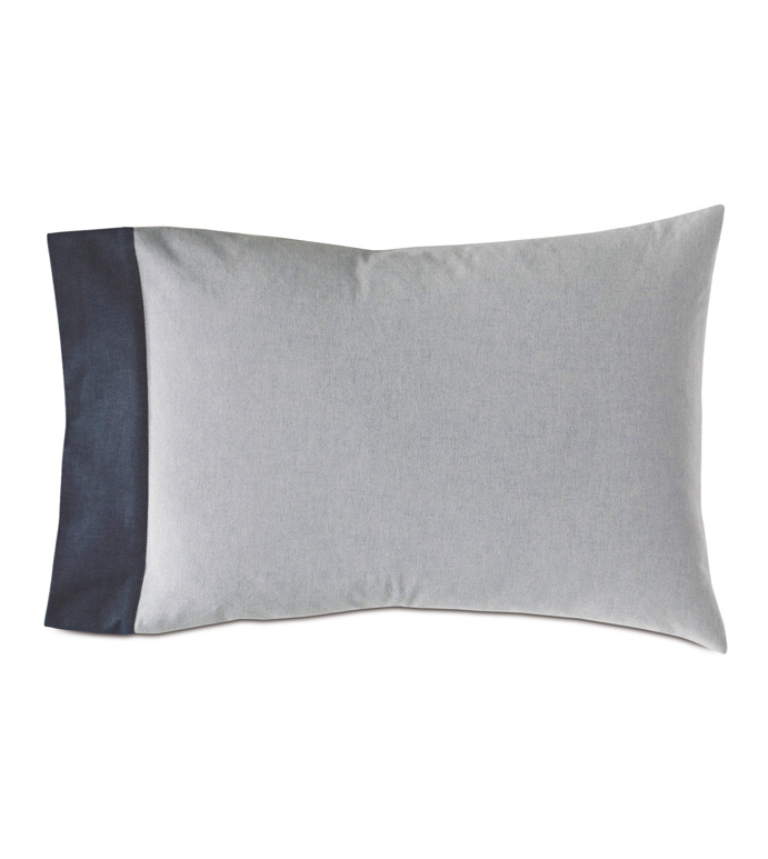 Hugo Cuff Standard Sham - BLUE AND GRAY,BLUE,GRAY,100% COTTON,WARM GRAY,CUFF,PILLOWCASE,KING SHAM,SHAM,PILLOW,THROW PILLOW,ACCENT PILLOW,DECORATIVE PILLOW,