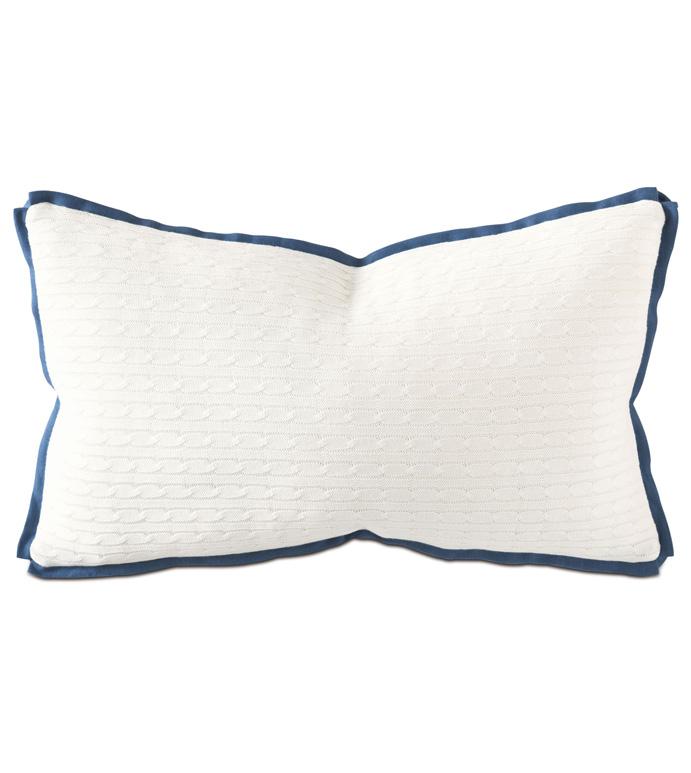 Jude Ivory Boudoir - pillow,throw pillow,cable knit pillow,solid pillow,rectangle pillow,decorative pillow,boudoir sham pillow,sham accent pillow,two tone pillow,feather pillow,zip closure pillow
