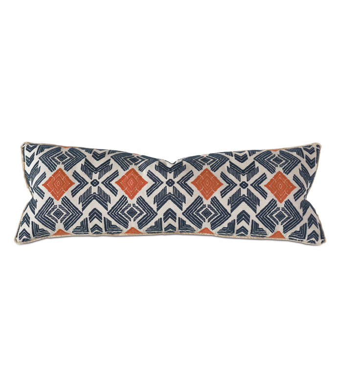 Lodi Extra Long Decorative Pillow - THOM FILICIA,EMBROIDERED,EMBROIDERY,ETHNIC,EXOTIC,TRIBAL,IKAT,BLUE AND ORANGE,BLUE,ORANGE,PATTERN,BOHO,ECLECTIC,OBLONG,LUMBAR,BOLSTER,RECTANGULAR,LARGE,LONG