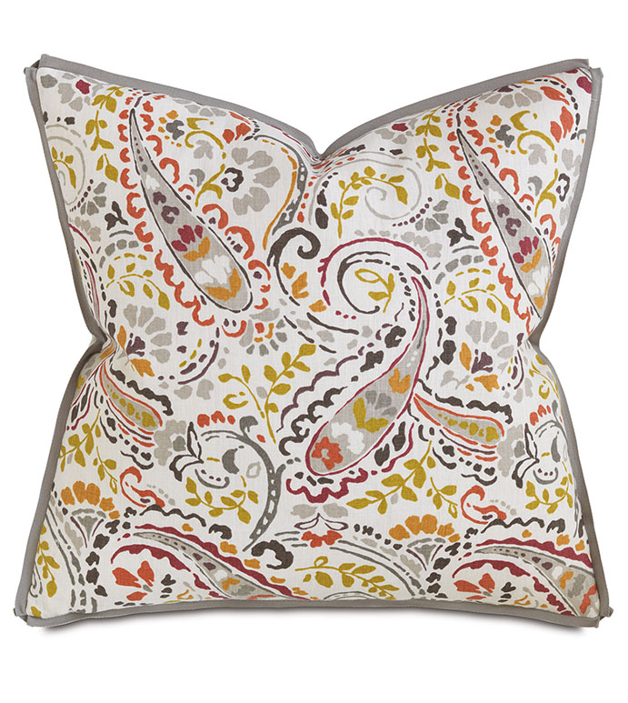 Morrison Spice Square - PILLOW,PAISLEY PILLOW,SQUARE PILLOW,TOSS CUSHION,THROW PILLOW,ACCENT PILLOW,PRINTED COVERED PILLOW,BUTTERFLY TRIM FINISHING PILLOW,DECORATIVE PILLOW,ABSTRACT CUSHION,FLORAL PILLOW