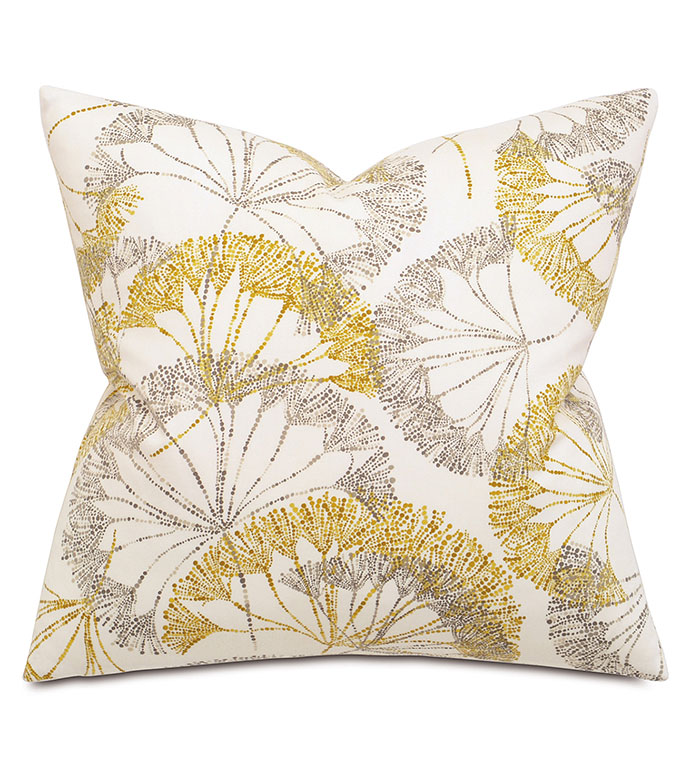 Bolina Saffron Square - PILLOW,FLORAL PILLOW,SQUARE PILLOW,ACCENT PILLOW,THROW PILLOW,FEATHER PILLOW,ABSTRACT PILLOW,FLORAL PILLOW PATTERN,ZIPPER CLOSURE PILLOW,ACCENT PILLOW,KNIFE EDGE TRIM PILLOW