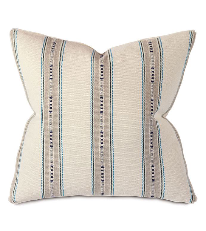 Emerson Natural Euro Sham - PILLOW,EURO SHAM,BLUE STRIPE PILLOW,SQUARE PILLOW,TOSS CUSHION,THROW PILLOW,ACCENT PILLOW,BEIGE STRIPE COVERED PILLOW,BRUSH FRINGE TRIM PILLOW,DECORATIVE PILLOW,ACCCENT PILLOW
