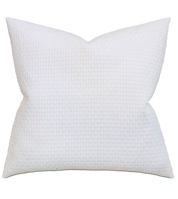 Albany White Extra Euro Sham - PILLOW,EURO SHAM,WHITE PILLOW,SQUARE PILLOW,ACCENT PILLOW,MATELASSE COVERED PILLOW,MATALASSE COVERED CUSHION,COTTON COVERED PILLOW,WASHABLE COVERED PILLOW,EURO PILLOW,