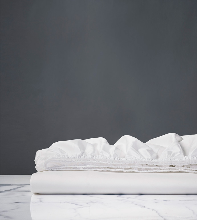 Chiaro Classic White Fitted Sheet - sheets,chiaro fitted sheet,sheeting,fine linens,bedding,luxury sheets,high-end sheets,high-quality sheets,200 thread count sheets,percale sheets,Egyptian cotton sheets