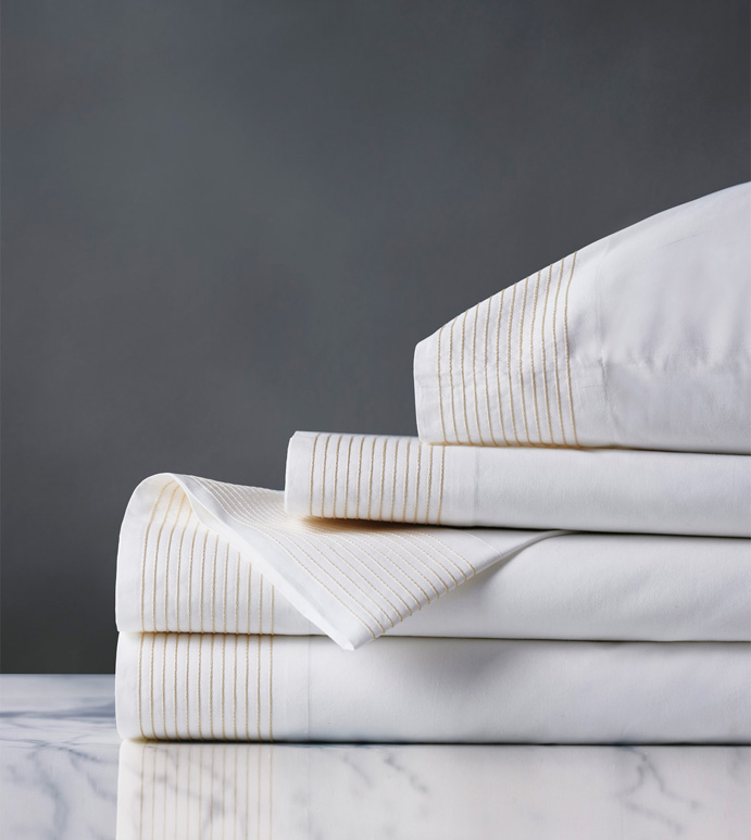 Marsden Bisque Sheet Set - sheets,bisque sheet set,sheeting,fine linens,bedding,luxury sheets,high-end sheets,high-quality sheets,200 thread count sheets,percale sheets,Egyptian cotton sheets