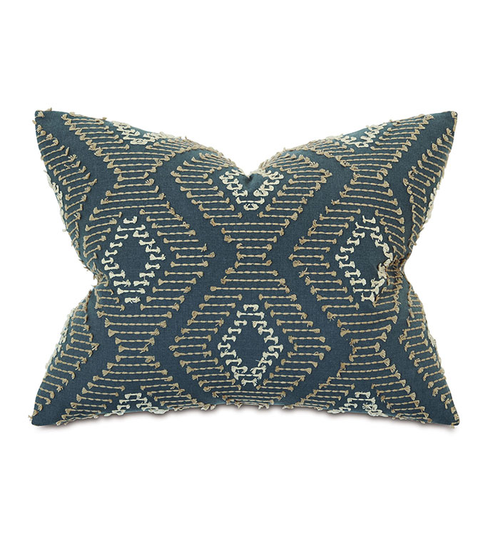 Trillium Diamond Fil Coupe Standard Sham - ,EMBROIDERY,EARTH TONES,TAUPE,GRAY PILLOW, GOLD, EMBROIDERED PILLOW,DIAMOND EMBROIDERY,FIL COUPE,MUSTARD PULLOW,EARTHY PILLOW,LUXURY BEDDING,