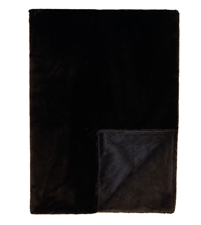 Dier Onyx Throw - throw,faux fur throw,black throw,top of bed,high end bedding,luxury linens,reversible throw,custom throw,faux fur blanket,whimsical blanket,luxury bedding,bed cover,onyx throw