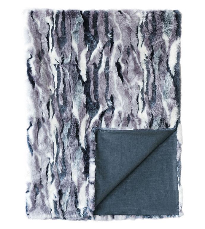 Tabitha Faux Fur Throw - ,fur throw, faux fur, glamorous throw, fur bed scarf,purple throw, purple fur, purple bedding,multicolored fur,blue fur,blue throw,feminine throw,luxury throw