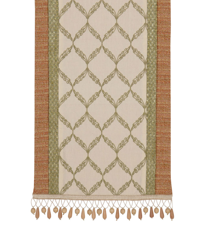 Bartow Palm Insert Runner - tropical table runner,beach house table runner,lake house table runner,earth tone,contemporary,tropical,muted,wood bead,beaded trim,coastal table runner,reversible,tan and green