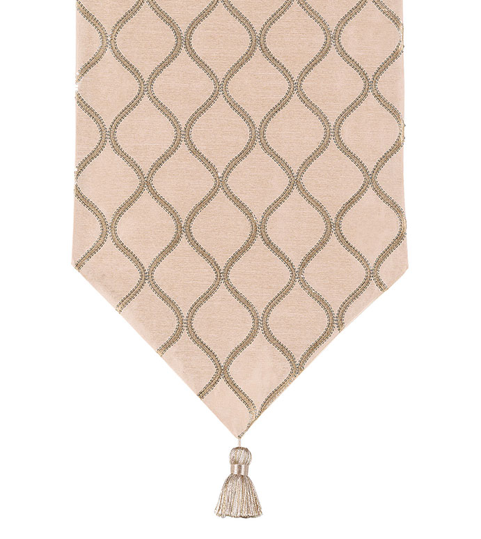 Bardot Bisque Table Runner - SHINY,TAN,GLAMOUR,METALLIC,ELEGANT,SEQUIN,GOLD,LUXURY,CHAMPAGNE,DECORATIVE,HOME DECOR,BEIGE,ACCENT,DESIGN,DECORATIVE,DINING ROOM,TABLE,DINING TABLE,RUNNER,INTERIOR DESIGN,TASSEL