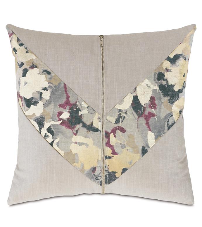 Valentina Zipper Decorative Pillow - ,DECORATIVE PILLOW,DECOR,PILLOW,LUXURY DECOR,ABSTRACT PRINT,METALLIC,ZIPPER,GOLD,METALLIC PILLOW,LATTICE,JEWEL TONES,VELVET,GLAM, LUXURY,