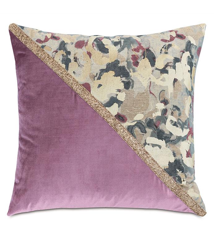 Valentina Color Block Decorative Pillow (Left) - ,DECOR,DECORATIVE PILLOW,METALLIC,METALLIC PILLOW,ABSTRACT PRINT,VELVET,JEWEL TONES,COLOR BLOCK,GLITTER,GOLD,GOLD PILLOW,LUXURY DECOR,GLITTER PILLOW, GLAM PILLOW,
