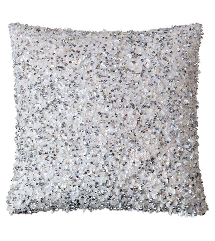 Crystal Platinum Knife Edge - SEQUINED,SEQUINS,BEADED,GLAM,SILVER,METALLIC,GRAY,PILLOW,SQUARE,20X20,THROW PILLOW,DECORATIVE PILLOW,ACCENT PILLOW,BEADED PILLOW,SEQUINED PILLOW,GLAM PILLOW WITH SEQUINS,