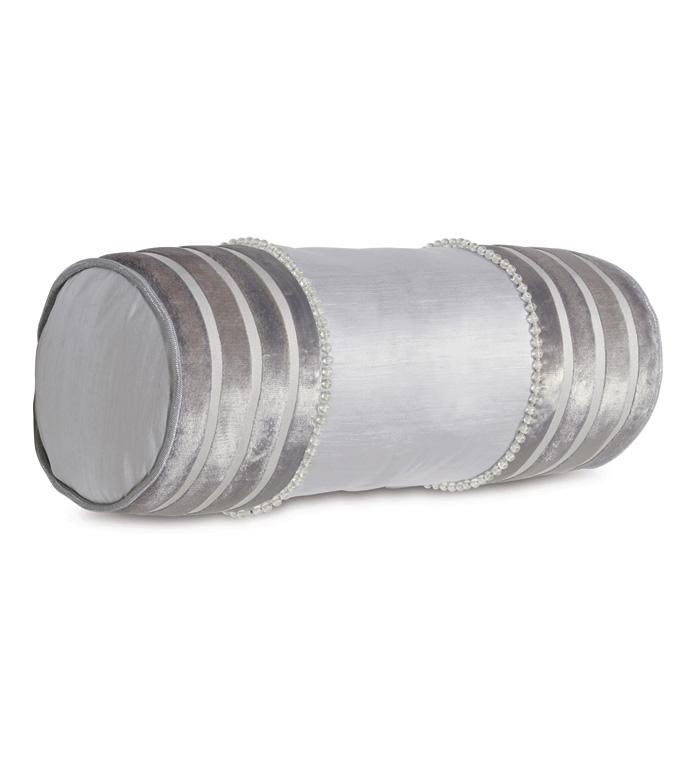 Lucent Silver Insert - BOLSTER,NECKROLL,DECORATIVE PILLOW,LUMBAR,THROW PILLOW,ACCENT PILLOW,METALLIC,SILVER,GLAM,GLAM BOLSTER,BEADED,SILVER BOLSTER,GLAM SILVER BOLSTER,GLAM BEADED BOLSTER,GLAM NECKROLL,