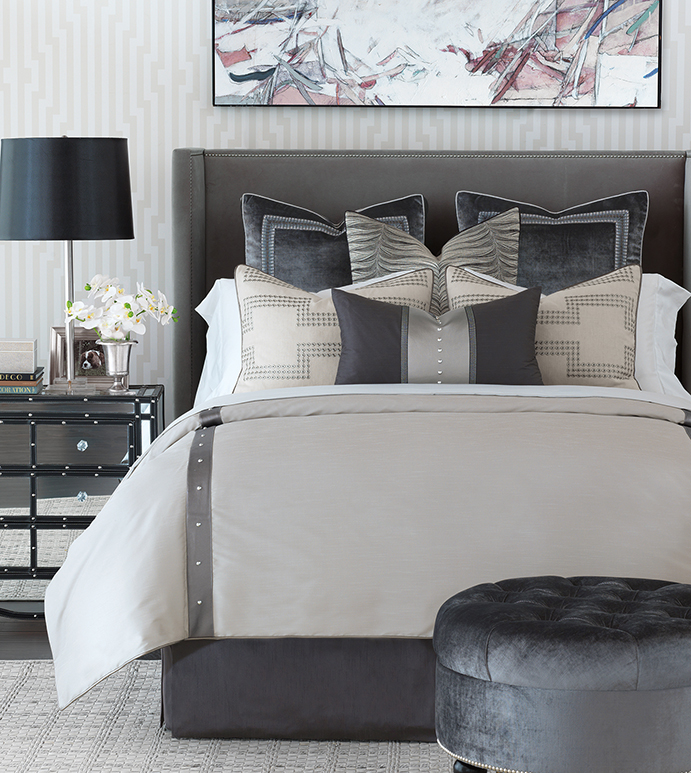 Hendrix - gray metallic bedding,metallic bedding,muted gray bedding,metallic bedding,grayscale bedding,jewel toned,silver,metallic silver bedding,nail heads,urban style bedding