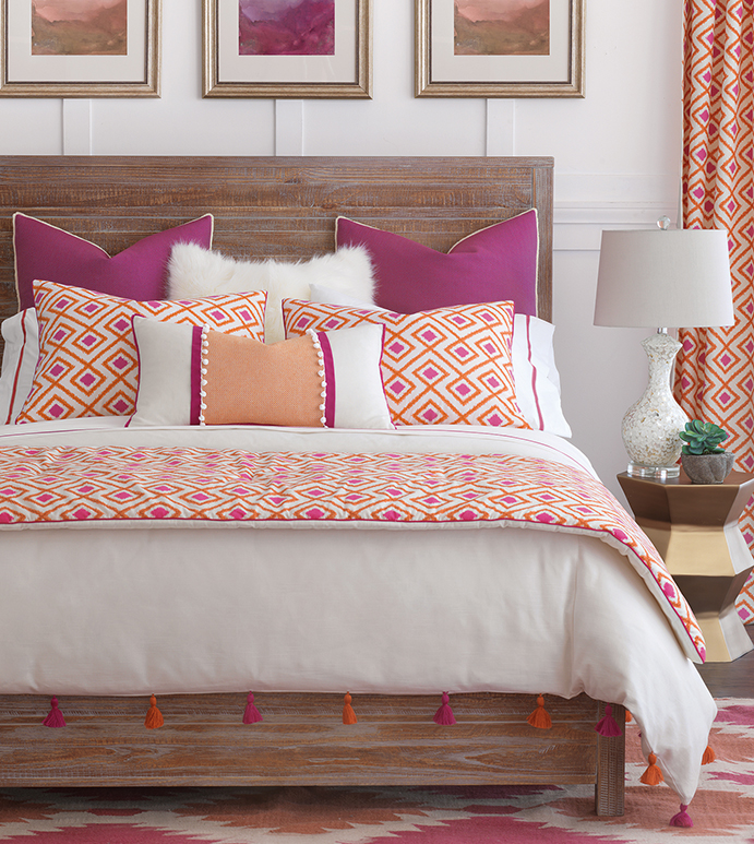 Taylor - feminine, girly, eclectic, exotic, ethnic, bright, colorful, orange, tangerine, purple, pink, geometric, graphic, diamond, pattern, tassel, faux fur, furry, bedding, bedding collection, bedset, bedding ensemble, trim, boho, bohemian, urban, young, contemporary, duvet cover, duvet, comfoter, euro sham, king sham, standard sham, bolster, bed pillow, sham, pillow, monogram, brush fringe, zig-zag, chevron, made in usa, made in america, ball trim, jewel, jewel tone, tassel, curtain, curtain panel, drapery, draperies, curtains, window, window treatment, bed scarf, patterned, 100% cotton, luxury, luxurious, high end, high quality, expensive, good quality, home decor, home goods, interior design, decor, accessories