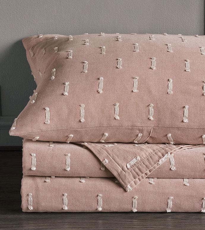 Bluff - pink,texture,textured,luxury,high-end,high-quality,quality,thom filicia,eastern accents,bedding,luxury bedding,euro sham,standard sham,coastal bedding,king sham,standard sham,pillow,pink pillow,fil coupe,cut embroidery,cut embroidered,frilly,textured,dotted,polka dotted,polka dots,soft pink,millennial pink,rose quartz,soft pink bedding,pink bedding,pink pillow,pink coverlet,blanket,throw,pink blanket,pink throw,made in america,made in usa,handmade,designer,cotton,luxury cotton,100% cotton,egyptian cotton,striped,stripes,pink and white,bed shams,pillow shams,coastal bedding,coastal bedroom,casual bedroom,luxury coastal decor,coastal decor,casual decor,broken stripe,home decor,home accessories,