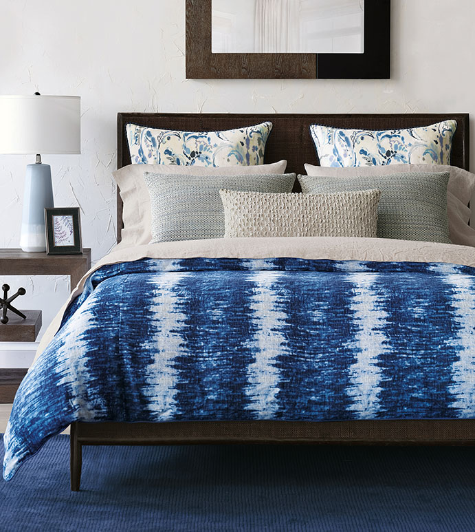 Anaheim - ,shibori bedding,shibori duvet,blue bedding,boho bedding,tropical bedding,linen bedding,paisley bedding,taupe bedding,global bedding,shibori fabric,boho decor,boho bedroom,