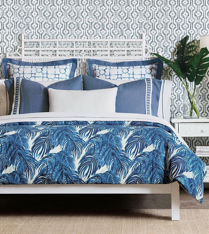 Brahea - ,tropical bedding,tropical decor,blue tropical,blue bedding,botanical print,tropical duvet,tropical pillow,blue palm print,linen bedding,blue linen,luxury bedding,tropical bedroom,cable knit pillow,