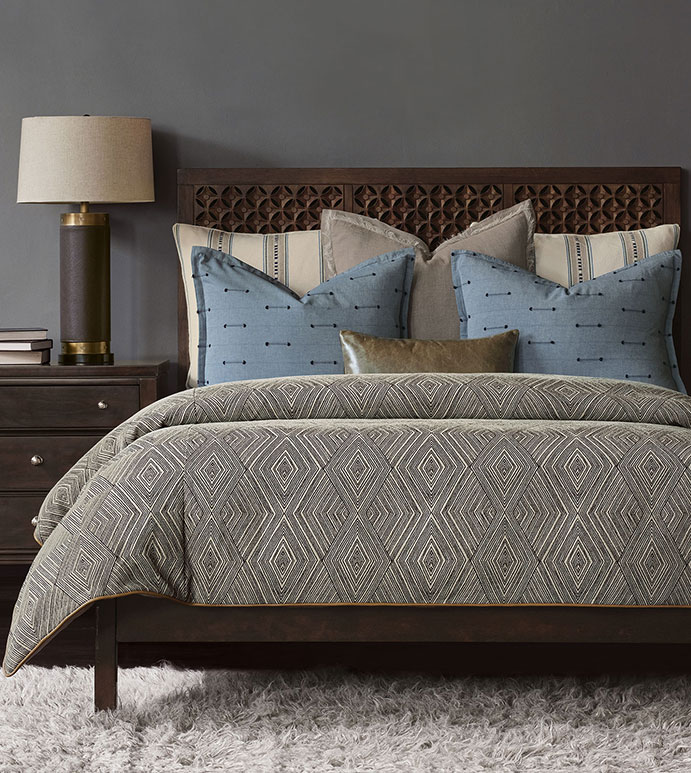 Congaree - ,global bedding,global interiors,taupe bedding,washable luxury bedding,washable fine linens,geometric duvet cover,global duvet cover,leather bolster,brown bedding,masculine bedding,