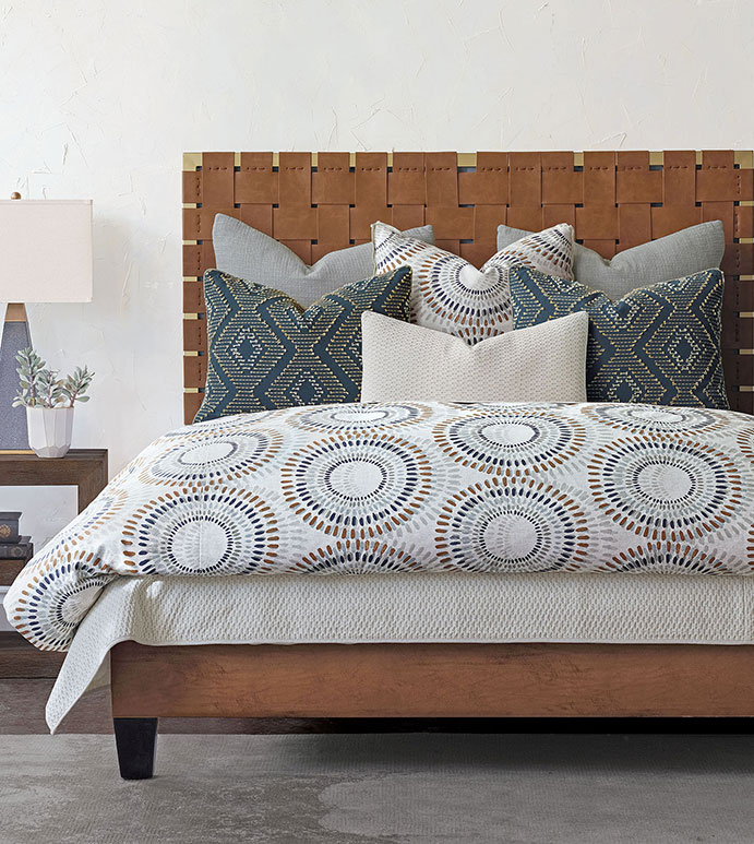 Baxter - ,washable bedding,70s bedding,embroidered bedding,geometric bedding,geometric print,circle print,geometric print bedding,blue bedding,thom filicia,thom filicia bedding,