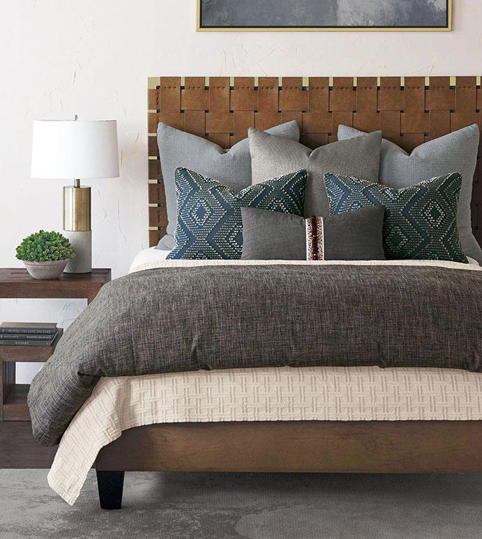 Colby - ,menswear bedding,chevron bedding,masculine bedding,washable bedding,dark gray bedding,unisex bedding,unisex fine linens,thom filicia bedding,